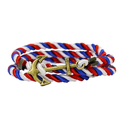 Vintage Nautique Anchor Bracelet Charme Corde Multijoueur Twining Weave Nylon Rope - Rouge Bleu Blanc