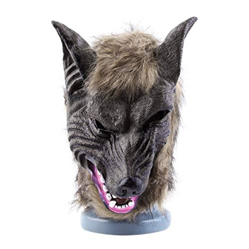 (JullyeleDEgant Erwachsene und Kinder Latex Tier Wolf Kopf mit Haarmaske Kostüm Party Scary Halloween mit Grauer Farbe)