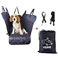 VEHHE Dog Car Seat Covers Pet Seat Cover Hammock for Back Seat - 100% Waterproof Scratch Proof Nonslip Backing Washble - Heavy Duty W/Protable Bag Padded for Cars Trucks and SUVs