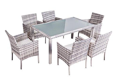 Jet-Line Gartenmöbel/Essgruppe 'Mexiko hochwertigem Rundrattan, grau Polyrattan Tischplatte Sicherheitsglas sechs Stühle Tisch 1,5 m (Stühle Sechs)