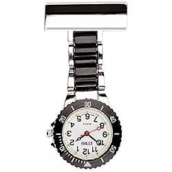 2 tone Black & Silver Fob Watch, Nurse Watch, Doctors Watch, Paramedic Watch