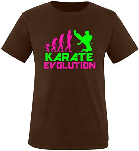 EZYshirt® Karate Evolution Herren Rundhals T-Shirt Braun/Pink/Neongr