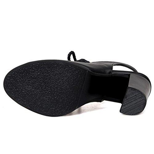 TAOFFEN Femmes Talons Hauts Sandales Classique Bloc Lacets Gladiateur Peep Toe Chaussures 632 Noir