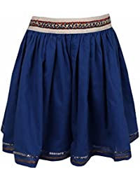 Shoppertree Girls Solid Blue Skirt With Contras Elastic Belt