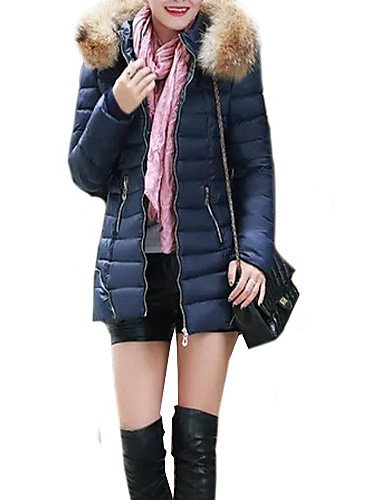 Mid-länge-wintermantel Womens (YRF/Damen Winter Parka-Mantel, Casual Baumwolle Mid langem Fell Hooded Long Sleeve donw Jacke (mehr Farben), dark blue-2xl)