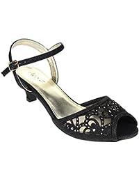 Aarz boda del partido de tarde de las mujeres de las señoras de baja Tacón bajo de aguja peep toe de Diamante de la sandalia tamaño de los zapatos (Oro, Plata, Champagne, Negro, Gris, Azul)