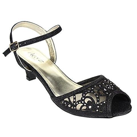 Aarz Femmes Mesdames Soirée Party Mariage Low Kitten Heel Peep Toe Diamante Sandal Chaussures Taille (Or, Argent, Champagne, Noir, Gris, Bleu)