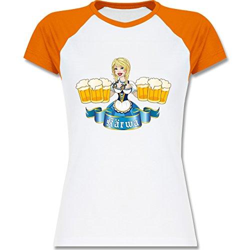 Oktoberfest Damen - Kärwa Mädel - zweifarbiges Baseballshirt / Raglan T-Shirt für Damen Weiß/Orange