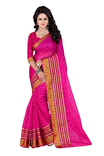 J B Fashion Women's Cotton Pink Saree With Blouse Piece