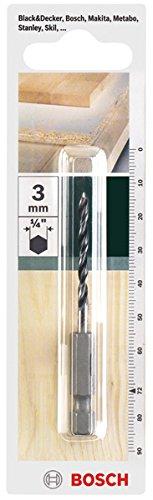Bosch Holzbohrer mit 1/4 Zoll -Sechskantschaft (Ø 3 mm)