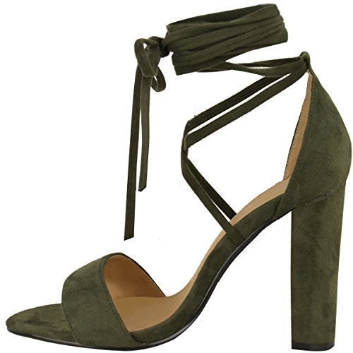 Lacets Nœud Cheville Enroulé Sandales Womens Dames À Talons Hauts Chaussures Épaisses Taille Kaki Vert Faux Daim