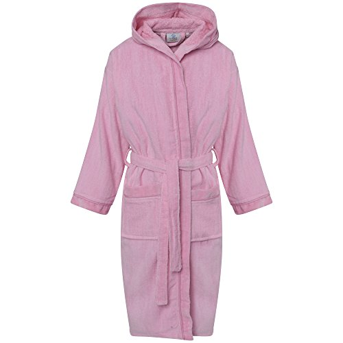 Linen Galaxy Kids Girls Pink Velour Hooded Bathrobes Terry Towel Egyptian Cotton Dressing Gown (8-10 Years)