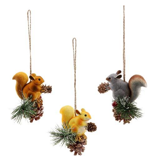 B Blesiya 3pcs Schlüsselanhänger Eichhörnchen mit Nuß süße Dekofigur, Geschenk für Kinder oder als Weihnachtenbaum Deko