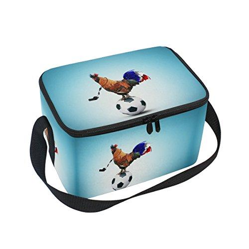 Alaza Fußball Rooster Isolierte Lunchtasche Box Kühltasche wiederverwendbar Tasche Outdoor Reise Picknick Tasche mit Schultergurt für Damen Herren Erwachsene Kinder 10x7x6 inches blau Rooster-box