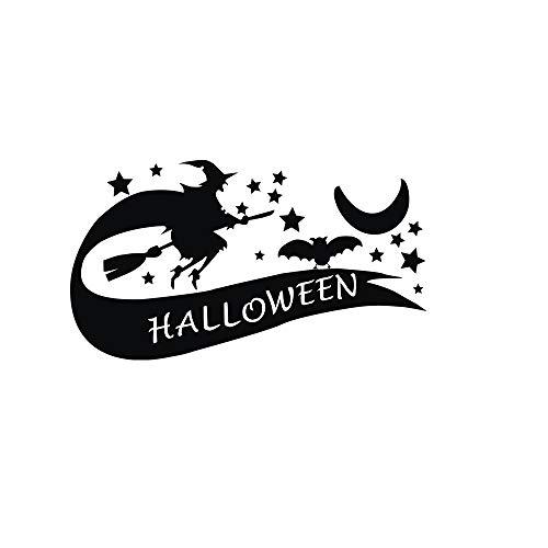 EgBert Kreative PVC Halloween Hexe Wandaufkleber DIY PVC Halloween Zitat Mond Und Sterne wasserdichte Aufkleber Wandtattoos Vintage Poster Hintergrund Dekorative Abnehmbare Tapeten