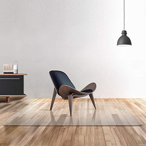 Transparente 100% alfombra de la silla de oficina de PC pura para suelos duros, protector de suelo de madera y libre de BPA sin deslizamiento, se adapta para sillas de escritorio de oficina (75x120cm)