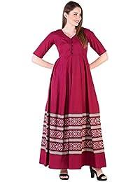 Amayra Women Cotton Anarkali Kurti(Maroon)