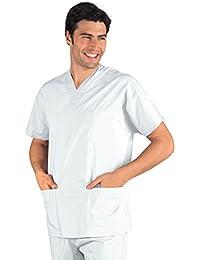 Isacco-Casaque médica, Cuello en V, Unisex, Color marrón