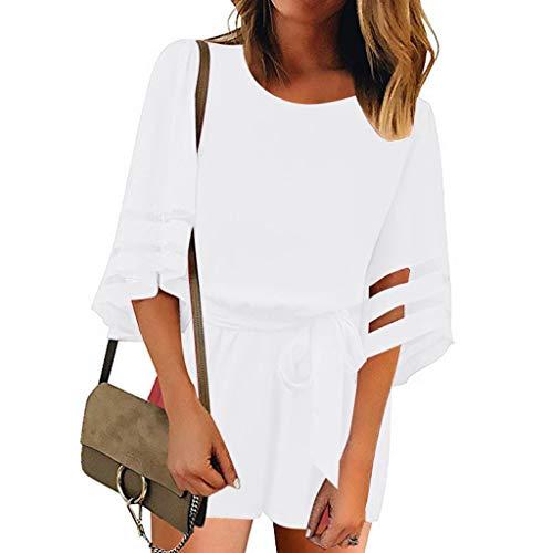 Strungten Damen Mesh Panel Bluse 3/4 Bell Sleeve Self-Tie Belted Short Strampler Overalls Fashion Pocket Lace Jumpsuit -