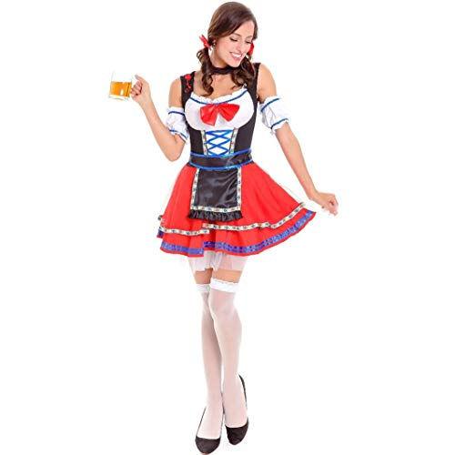 SHENTIANWEI Halloween oktoberfest niedlich sexy maid dress maid kostüm cosplay cos spiel uniform (Color : Red, Size : XL)