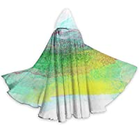 gardenia store Colorful Ink Graffiti Halloween Cloak Fancy Hooded Cape with Drawstring Adult Cool Witch Robe Extra Long Party Cape