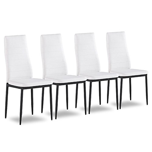 4er Set Esszimmerstuhl Küchenstühle Polsterstuhl Stuhlgruppe (Weiß) (Weiß Polsterstuhl)