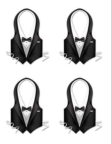 Beistle 66849 4Piece Kunststoff Tux Westen,, - Awards Night Kostüm