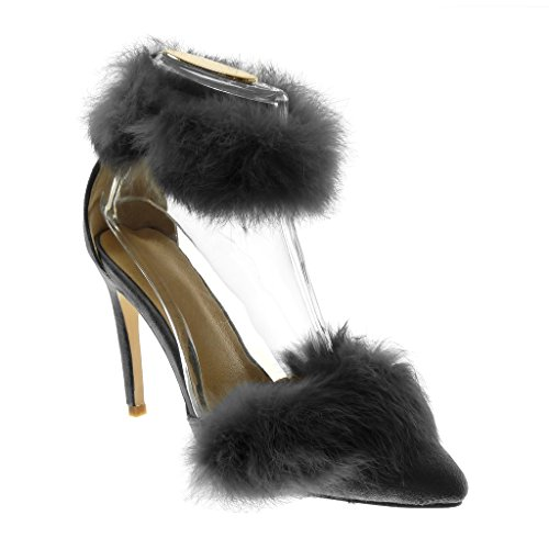 Chaussure Escarpin Talon Gris aiguille CM Angkorly sexy haut femme Mode stiletto 10 fourrure UEOW0wqdx