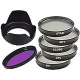DynaSun Kit de filtres polarisants circulaires comprenant Filtre Skylight/ Filtre de protection fin/Filtre ultra-violet/Filtre étoile 4 points anti-reflet fin/Objectif/Filtre macro/Objectif/Filtre lumière du jour FL-D/Pare-soleil tulipe pour appareils photo Canon/Nikon/Pentax/Olympus/Samsung/Sony/Panasonic/Fujifilm 67 mm