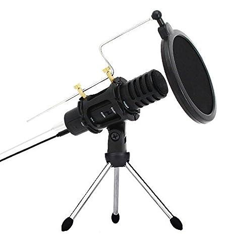 XIAOKOA Microphone à condensateur pour Iphone, ordinateur avec support Carte son intégrée Echo Recording Karaoke Singing pour Android IOS (A1-black)