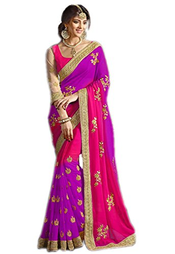 Ambika Sarees Collection Women's Georgette With Blouse Piece (Purple)
