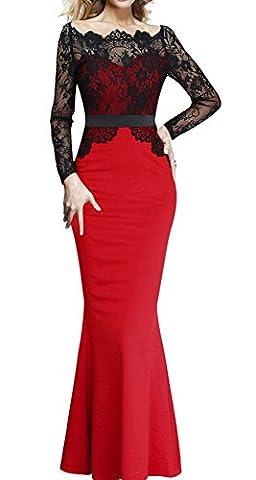 U8Vision Damen Langarm Maxi Spitzenkleid Fishtail Kleid Celebrity Kleid Abendkleid