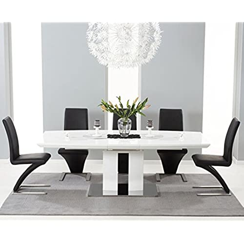 Rossi High Gloss 6 Seater Rectangle Extending Dining Table Black Z Chair Set