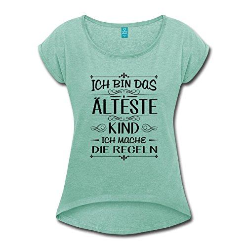 Spreadshirt Geschwister Regeln Witziger Spruch Ältestes Kind Frauen T-Shirt mit gerollten Ärmeln, S, Minze meliert (T-shirt Sandwich-kinder)