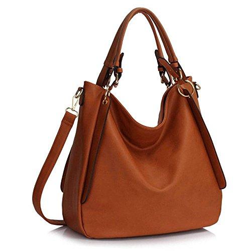 Trendstar Damenhandtaschen Damenmode Designer Umhängetaschen Faux Leder Mode Hobo (Braun)