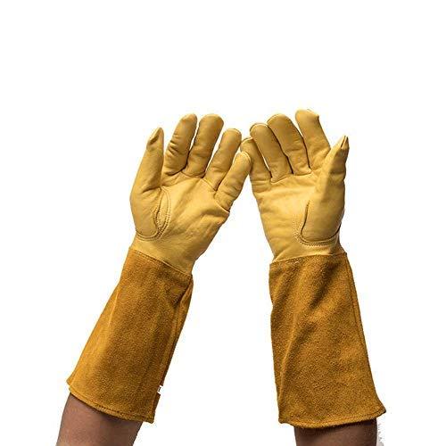 Ziegenleder Rosen Gartenhandschuhe, Dornschutz, pannensicher, lange Ärmel, Armschützer, Gartenhandschuhe für Männer und Frauen, L, gelb, 2