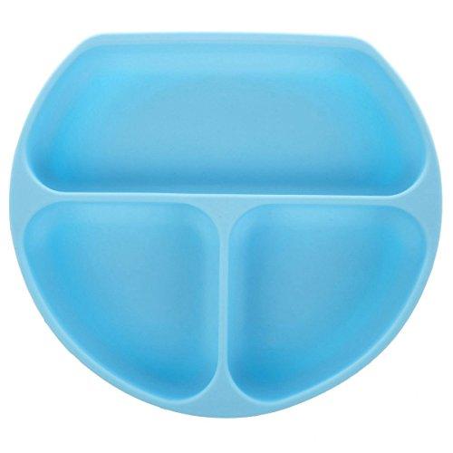 RETYLY Vassoio per alimenti in silicone per bambini con ventose impermeabili Cute Smily Face (blu chiaro)