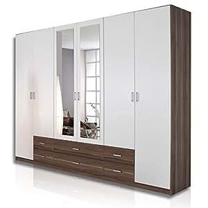 roller kleiderschrank gamma wei nussbaum spiegel 270 cm breit k che haushalt. Black Bedroom Furniture Sets. Home Design Ideas