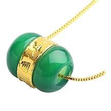 Pendentif perle porte-bonheur en jade naturelle et or jaune 24 carats avec chaîne en argent gratuite