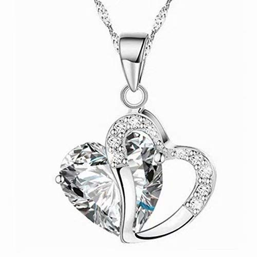 Kette Damen 925 Sterling Silber Zirkonia mit Lebhaft Herz Halskette