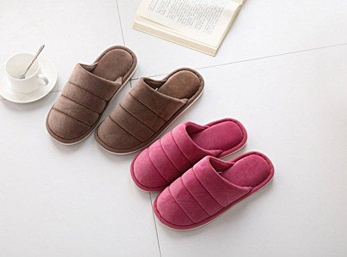 Fansela Couple pantoufle anti-dérapant souple chaussons chaud en coton pour automne/hiver à la maison Bleu Marine