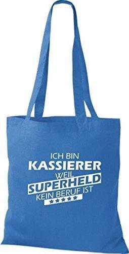 shirtstown Borsa di stoffa SONO kassierer, WEIL supereroe NESSUN lavoro è Blu reale