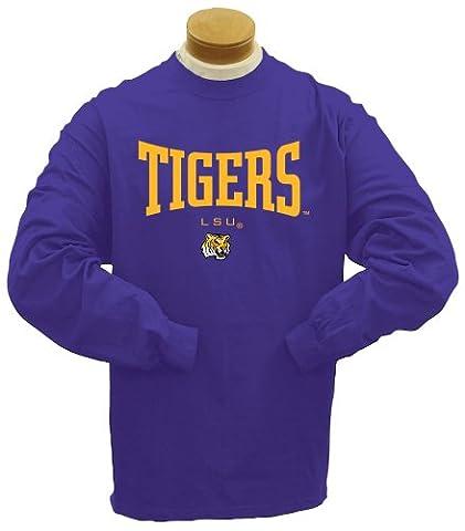 NCAA LSU Tigers Filz Applikation Lange Ärmel T-Shirt, Herren, violett (Lsu Tigers Ncaa Applikationen)