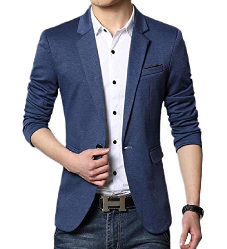 Andopa Herren gemütliche pure color kerbe revers single button blazer-jacken-anzüge M Blau - Kerbe Revers Single