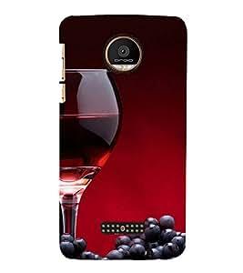 FUSON Red Wine And Grapes 3D Hard Polycarbonate Designer Back Case Cover for Motorola Moto Z Force :: Motorola Moto Z Force Droid for USA