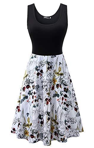 Measoul Damen Sommerkleid Ärmelloses Beiläufiges Strandkleid Tank Kleid Ausgestelltes Trägerkleid Knielang Floral Sommer Tank Kleid