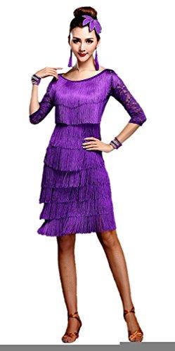 Honeystore 2017 Neuheiten Damen Vielschichtig Quasten Swing Rhythmus Jazz Latein Dance Kleid Violett XL (Street Jazz Dance Kostüme)