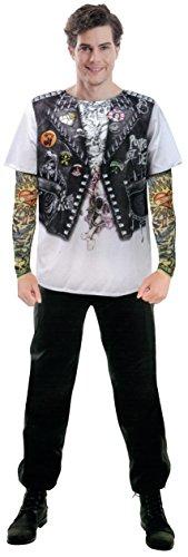Preisvergleich Produktbild Brandsseller Herren Bedrucktes Shirt Kostüm Verkleidung Fun T-Shirt - Bikerjacke-Design - verschiedene Größen (L / XL,  Punkerjacke)