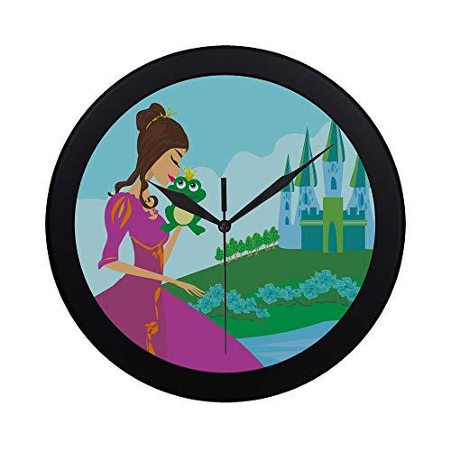 WOCNEMP Moderne einfache schöne Dame küsst einen Frosch-Wanduhr-Innenfegebewegungs-Wand-Clcok für Büro, Badezimmer, Wohnzimmer dekorativ 9,65 (Mädchen Garten Märchen Kostüme)