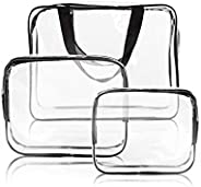 3Pcs Clear Cosmetic Bag Vinyl Air Travel Toiletry Bags Bulk, Water Resistant PVC Packing Cubes with Zipper Closure & Carry H